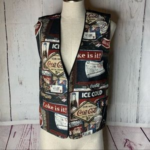 VTG 90's Coca Cola Coke Tapestry Vest Pop M Soda